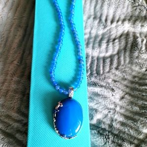 Blue stone pendant with blue bead chain in 925